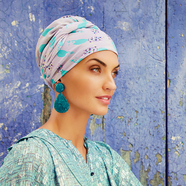 Turban Set Boho Spirit Sapphire, Parrot Passion, Christine Headwear 1