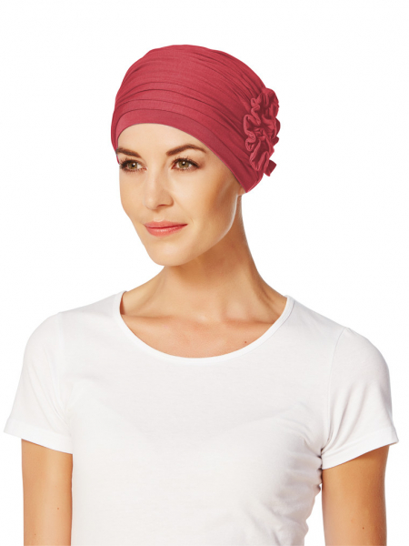 Lotus turban, Cerise, Christine Headwear, Onconect 0