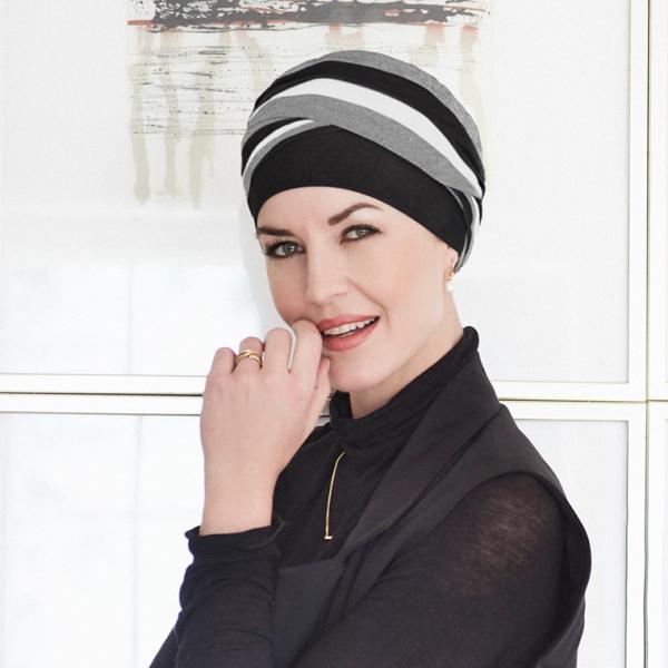 Shanti turban - Black/Grey/Ivory, Christine Headwear 0