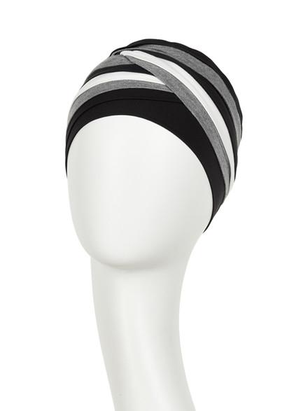Shanti turban - Black/Grey/Ivory, Christine Headwear 1