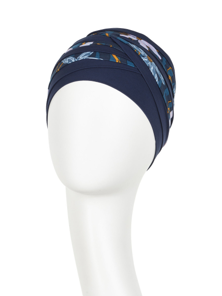 Shanti turban Dark Blue,Flowers, Christine Headwear 1