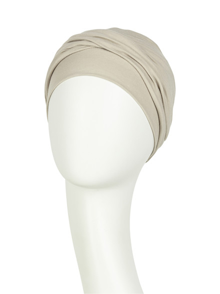 Zoya Turban Feather Beige, Viva Headwear 1