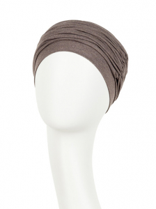 Karma turban cu bentita - Warm brown melange, Vascoza din bambus, Turban subtire1