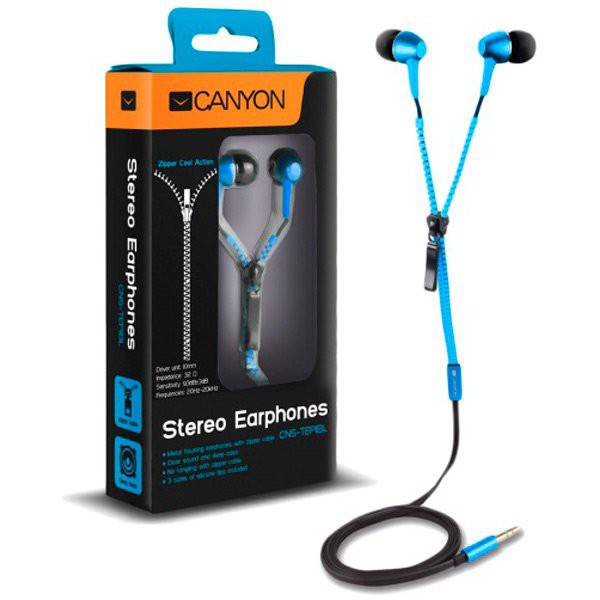CANYON zipper cable earphones, metal housing, blue. 0