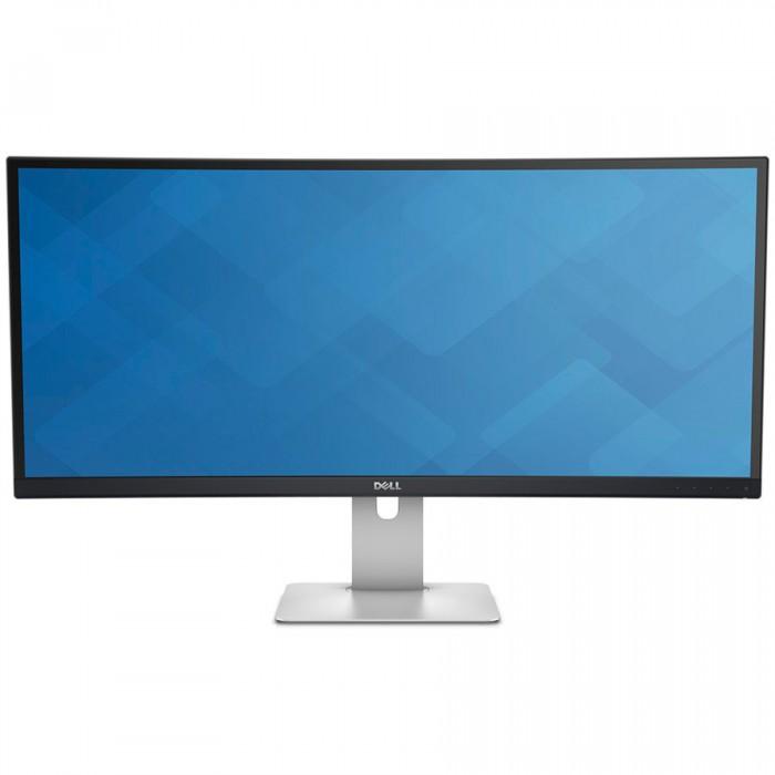 """Monitor LED DELL UltraSharp U3415W 34"""" Curved, 3440x1440, 21:9, AH-IPS, 1000:1, 178/172, 6ms, 300cd/m2, VESA, DisplayPort, Mini DisplayPort, HDMI, USB HUB, Height Adjustable, Pivot, Speakers, Black """"U 0"""