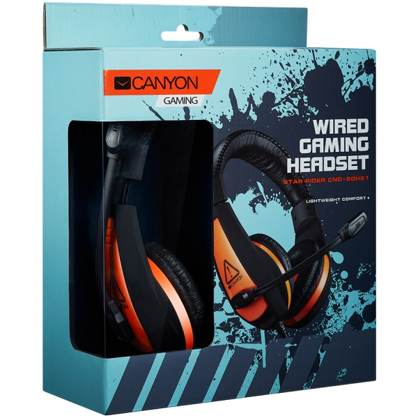 CANYON Gaming headset 3.5mm jack with adjustable microphone and volume control, cable 2M, Black 1