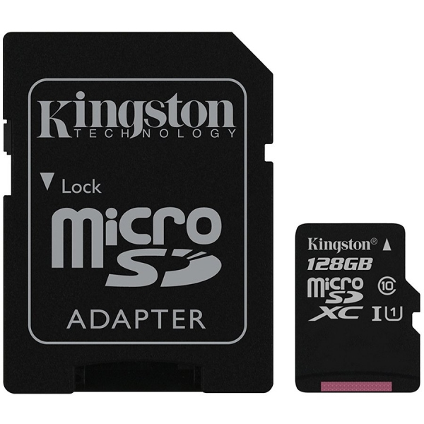 Kingston 128GB microSDXC Canvas Select Class 10 UHS-I 80MB/s Read Card + SD Adapter 0