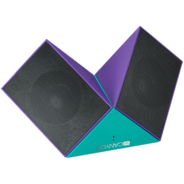 Transformer Bluetooth Speaker, BT V4.1, BEKEN BK3254, 360 degree rotation, Built in microphone, TF card support, 3.5mm AUX, micro-USB port, 800mAh polymer battery, blue-purple 3