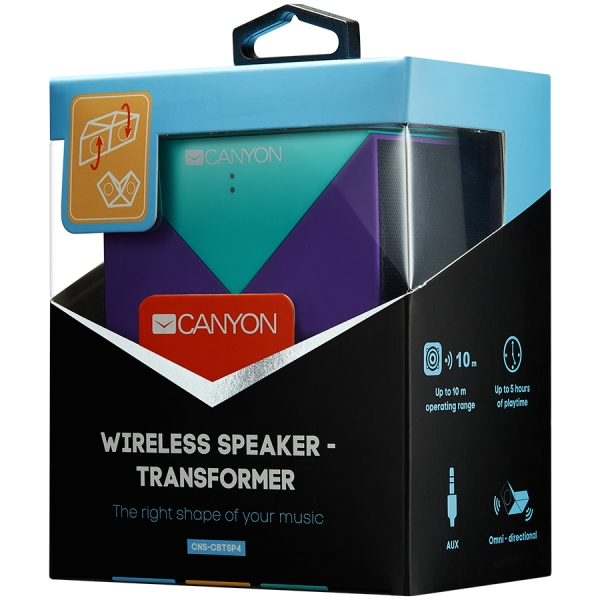 Transformer Bluetooth Speaker, BT V4.1, BEKEN BK3254, 360 degree rotation, Built in microphone, TF card support, 3.5mm AUX, micro-USB port, 800mAh polymer battery, blue-purple 1