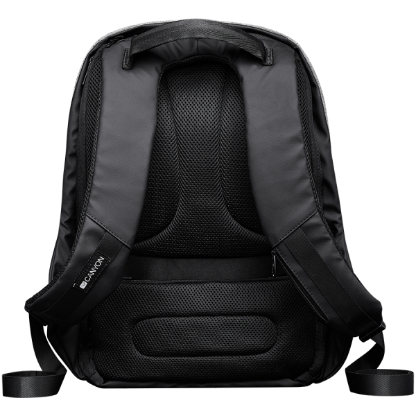 """Backpack for 15.6"""" laptop, black and dark gray (Material: 900D Glued Polyester and 600D Polyester) 2"""
