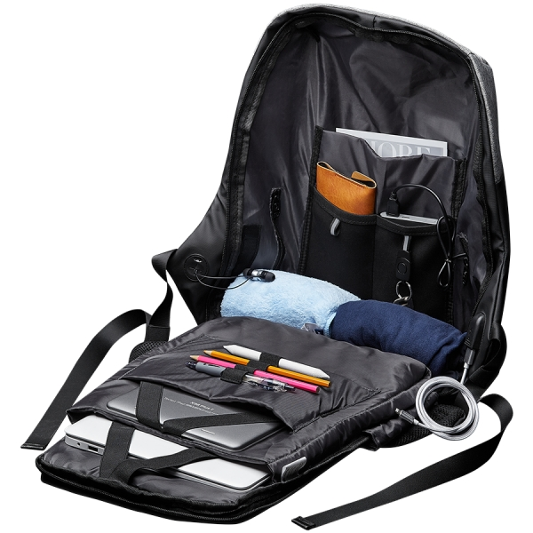 """Backpack for 15.6"""" laptop, black and dark gray (Material: 900D Glued Polyester and 600D Polyester) 1"""