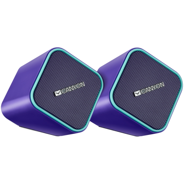 Canyon wired stereo Speaker, 1.2m cable with USB2.0 & 3.5mm audio connector, purple(blue stripe) 1