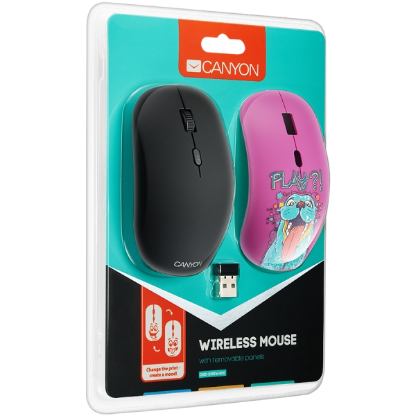 Canyon wireless Optical Mouse with 4 buttons, DPI 800/1200/1600, 1 additional cover(Play), black 3