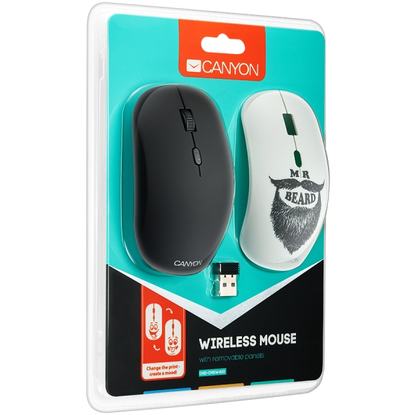 Canyon wireless Optical Mouse with 4 buttons, DPI 800/1200/1600, 1 additional cover(Beard), black 3