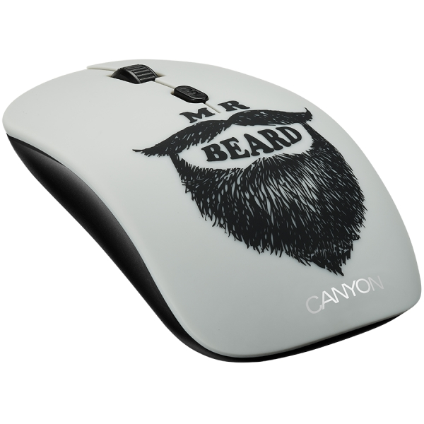 Canyon wireless Optical Mouse with 4 buttons, DPI 800/1200/1600, 1 additional cover(Beard), black 2