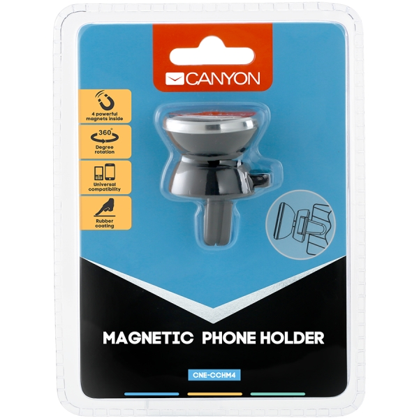 Canyon Car Holder for Smartphones,magnetic suction function ,with 2 plates(rectangle/circle), black ,40*35*50mm 0.033kg 0