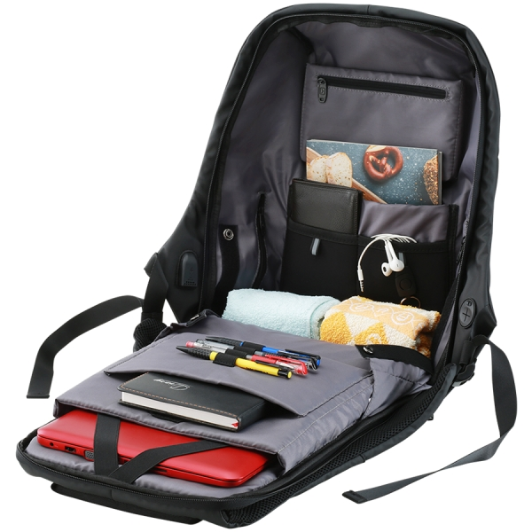 "Backpack for 15.6"" laptop, material 900D glued polyester and 600D polyester, black, USB cable length0.6M, 400x210x480mm, 1kg,capacity 20L 1"
