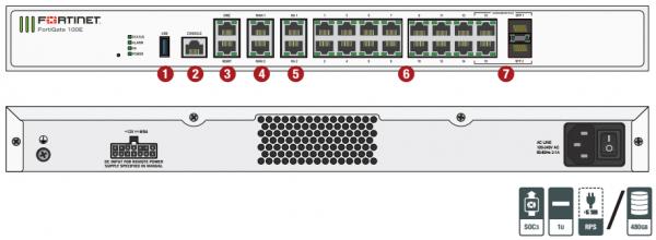 Fortinet firewall Fortigate 100E - Hardware plus 1 Year Hardware plus 24x7 FortiCare and FortiGuard Unified (UTM) Protection 1