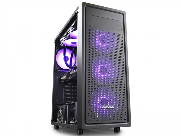 "CARCASA DeepCool Middle-Tower  E-ATX, 1* 120mm fan (inclus), tempered glass, front audio & 1x USB 3.0,  2x USB 2.0, black ""E-SHIELD"" 6"