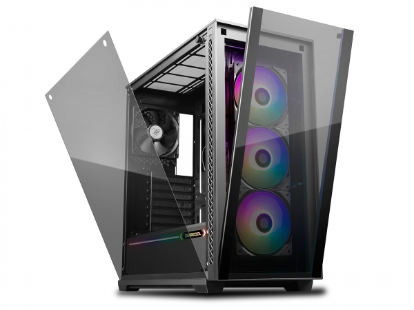 "CARCASA DeepCool Middle-Tower E-ATX,  3x 120mm CF120 fans, header RGB ADD, RGB LED strip, tempered glass, front audio & 2x USB 3.0, 2x USB 2.0, black ""MATREXX 70 ADD-RGB 3F"" 1"