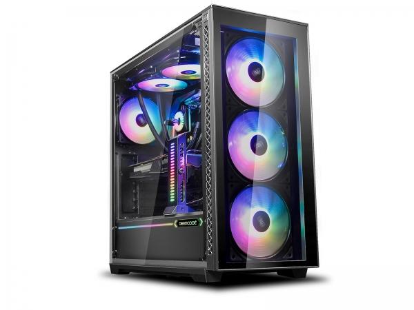 "CARCASA DeepCool Middle-Tower E-ATX,  3x 120mm CF120 fans, header RGB ADD, RGB LED strip, tempered glass, front audio & 2x USB 3.0, 2x USB 2.0, black ""MATREXX 70 ADD-RGB 3F"" 0"