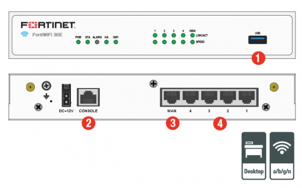 Firewall Fortinet FortiGate-30E - Hardware plus 1 Year 8×5 FortiCare and FortiGuard UTM Bundle - FG-30E-BDL 1