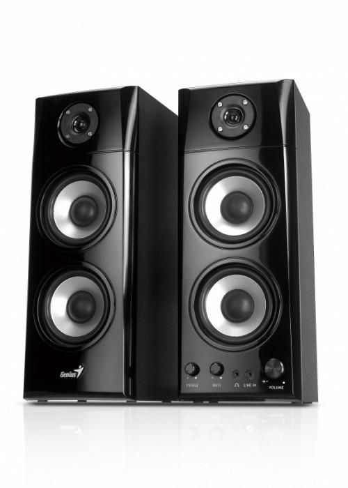 Boxe 2.0 GENIUS SP-HF1800A , RMS 50W: 25W x2 sateliti, frecventa 20Hz - 20kHz, raport semnal 85dBA, butoane: volum, bass si trable, intrari audio: jack casti + line in, culoare: negru lucios-gri 0