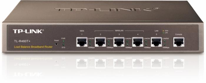 "Router 10/100Mbps 1x WAN, 1x LAN, 3x WAN/LAN TP-LINK TL-R480T+ - medium business, rack 13"" 1U 0"