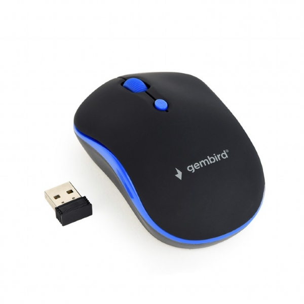 "MOUSE GEMBIRD wireless, 1600dpi, 4 butoane, 1 rotita scroll, black&blue ""MUSW-4B-03-B"" (include timbru verde 0.1 lei) 0"