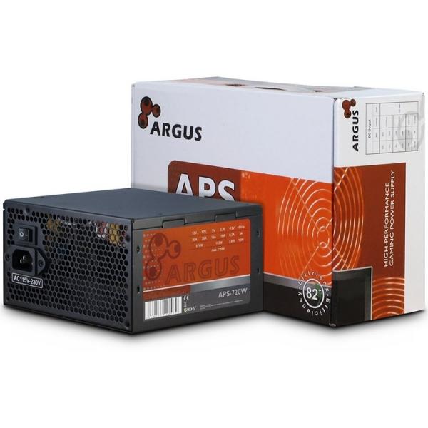 Power Supply INTER-TECH Argus APS 720W, efficiency 89.1%, dual rail (30A/30A),  120 mm silent fan with automatic control, 2x6+2pinPCIE, 4xSATA, 4xMolex, 1xFloppy, 1x4+4pinEPS12V, Active PFC, OVP/SCP/O 1