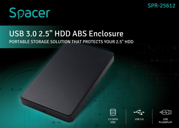 """RACK EXTERN 2.5"""" HDD S-ATA to USB 3.0 SPACER, Plastic, """"SPR-25612"""" 4"""