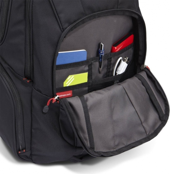 """RUCSAC CASE LOGIC notebook 15.6"""", poliester, 2 compartimente, buzunar interior tableta, buzunar frontal, 4 buzunare laterale, orificiu acces casti, buzunar dorsal ascuns, black, """"BEBP215"""" 3201673 4"""