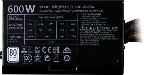 "SURSA COOLER MASTER  MasterWatt Lite, 600W (real), silent HDB fan 120mm, 85% eficienta, 2x PCI-E (6+2), 6x S-ATA ""MPX-6001-ACABW-EU"" 1"