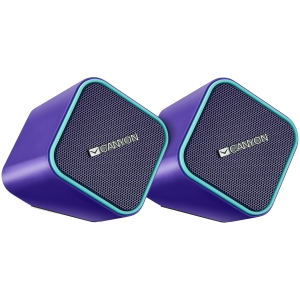 Canyon wired stereo Speaker, 1.2m cable with USB2.0 & 3.5mm audio connector, purple(blue stripe)1