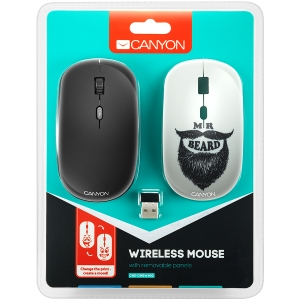 Canyon wireless Optical Mouse with 4 buttons, DPI 800/1200/1600, 1 additional cover(Beard), black0