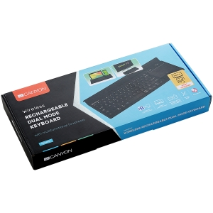 Bluetooth&2.4G wireless keyboard, max. 4 devices can be connected at same time, Bluetooth multi-device mode under Android, iOS, Win8 and Win10 system, touch panel with rubbery hand rest, US layout, Bl3
