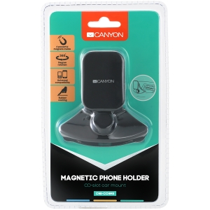 Canyon Car Holder for Smartphones,magnetic suction function ,with 2 plates(rectangle/circle), black ,91*84*48mm 0.070kg3