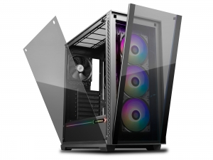 "CARCASA DeepCool Middle-Tower E-ATX,  3x 120mm CF120 fans, header RGB ADD, RGB LED strip, tempered glass, front audio & 2x USB 3.0, 2x USB 2.0, black ""MATREXX 70 ADD-RGB 3F""1"