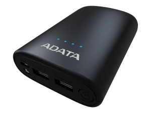 "POWER BANK ADATA 10050mAh, 2 x USB, 4 x LED pt. status baterie, P10050V 10.050 mAh, total 2.4A, lanterna LED, black ""AP10050V-DUSB-CBK""2"