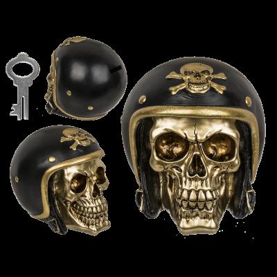 Pusculita craniu motociclist - auriu 0