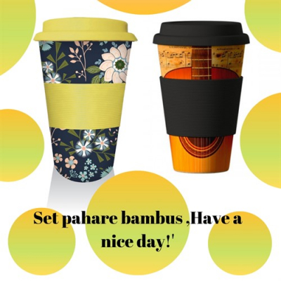 Set pahare bambus ,Have a nice day!'
