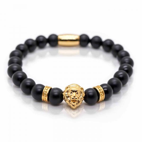 Bratara cu pietre semipretioase onix si cap de leu - Gold 0