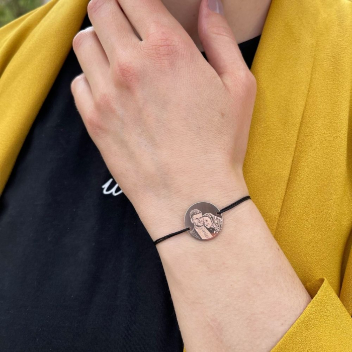 Bratara snur banut argint personalizat cu poza - Placat aur roz 18K 0
