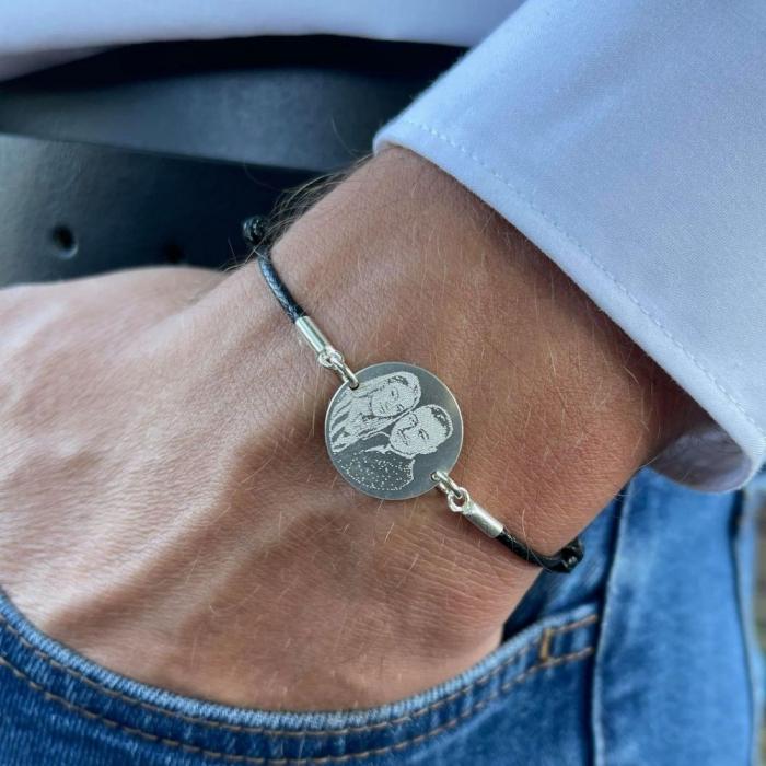 Bratara personalizata barbati cu banut Argint 925 si snur negru reglabil [0]