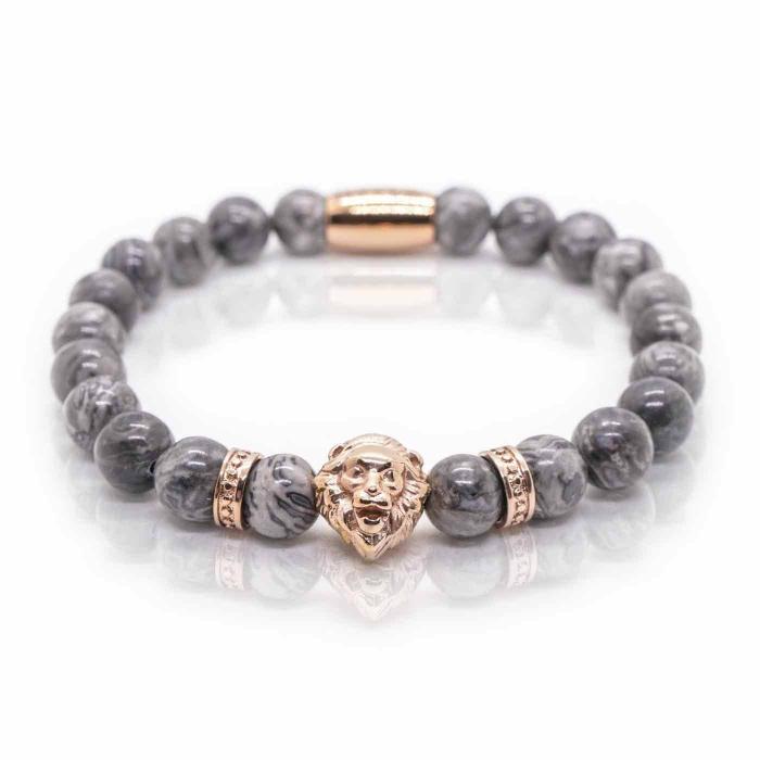 Bratara pietre semipretioase jasp gri si cap leu - Rose Gold 0