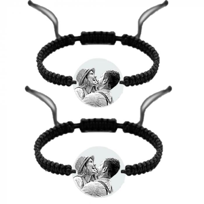 Set brățări cuplu personalizate cu poza si text Argint 925 [0]