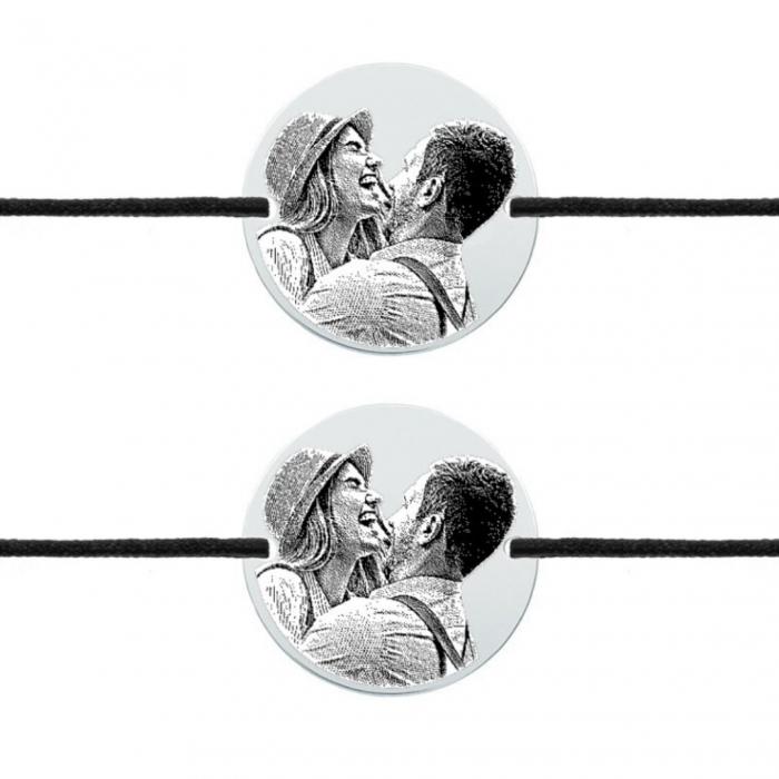 Bratari cuplu personalizate - Banut gravat cu poza, bratari cu snur 0
