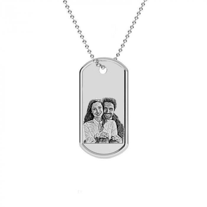 Lantisor cu pandativ cu poza, placuta Army personalizata Argint 925 [0]