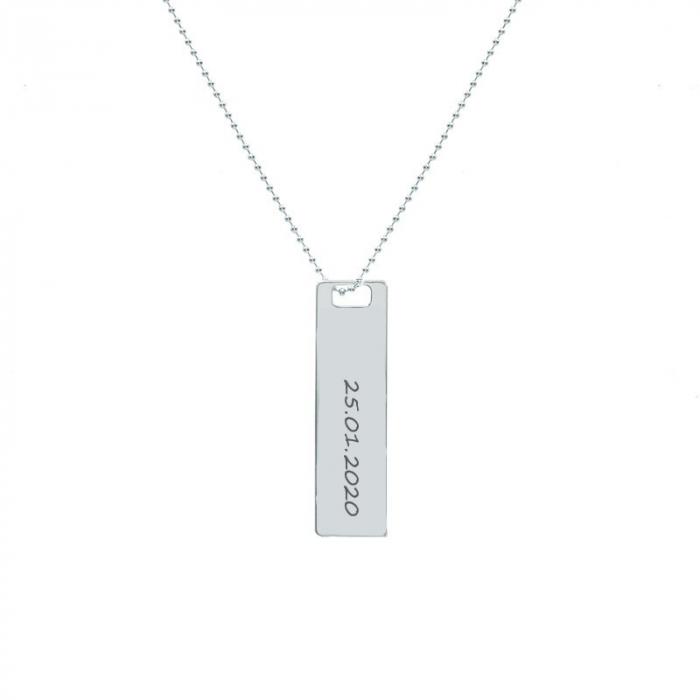 Lantisor argint dama, tablita 30 mm, personalizat gravura text (lant cu bilute) [0]