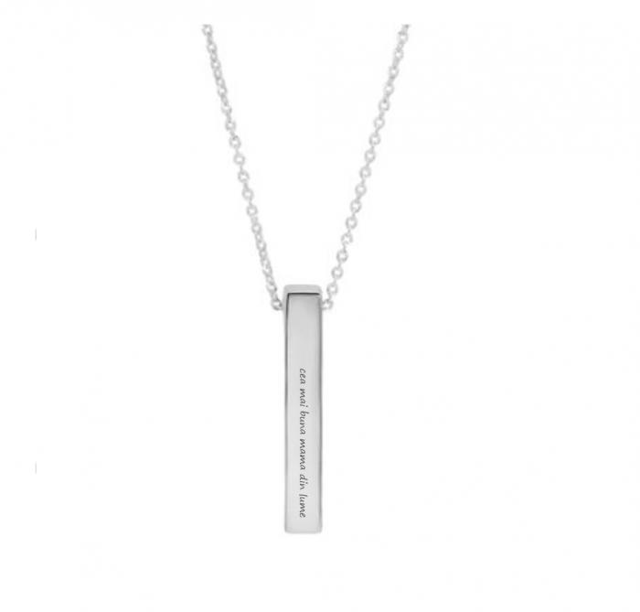 Lantisor argint personalizat gravura text - Pandativ 3D argint 925 rodiat [1]